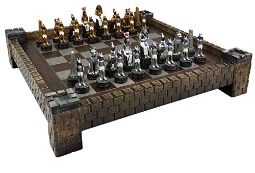 Egyptian Chess - HPL Egyptian Anubis Chess Men Set Gold & Silver W/ Colored Accents & 17 1/2