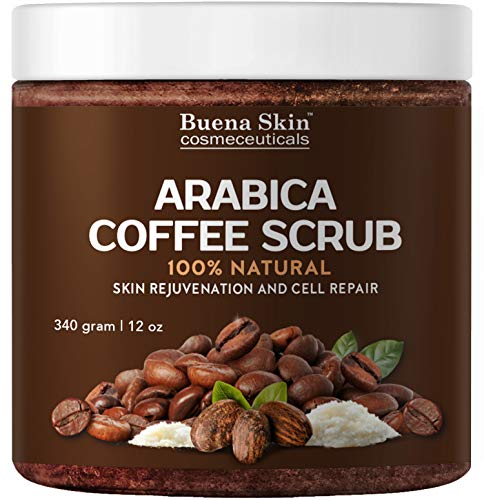 100% Natural Arabica Coffee Scrub, Best Stretch Mark, Acne & Anti Cellulite Treatment, Helps Reduce Spider Veins, Eczema, Age Spots & Varicose Veins - 12 Oz (Best Coffee Scrub For Cellulite)