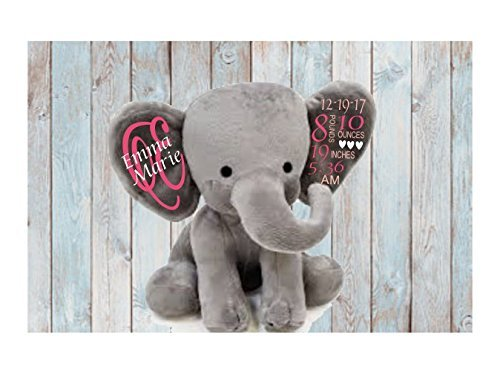 Amazon birth announcement birth stats plush elephant birth gift birth announcement birth stats plush elephant birth gift newborn gift keepsake birth stats negle