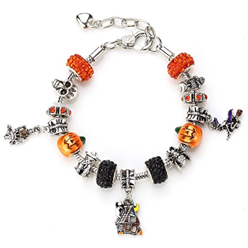 Novadab Spooky Halloween Shamballa Charms (includes six beautiful shamballa beads) - Halloween Jewelry