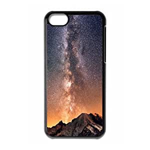 iPhone 5C Case,Milky Way Galaxy Bulge Above Mountain Hard Shell Back Case for Black iPhone 5C Okaycosama371980