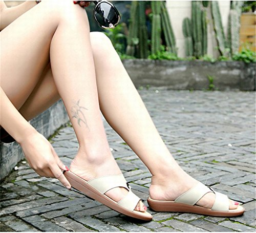 Femme cuir Chaussures de vache On Femmes femmes Loisirs Diapositives Sandales Vraie Summer Slip occasionnels en Beige Plage Flats Tongs In8wOFYFqd