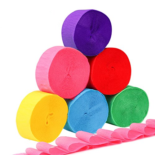 Homder 6 Colors Crepe Paper Streamers for Various Birthday Party Wedding Festival Party Decorations,1.77 Inch x 82 Feet (6 Rolls) (Party Crepe Streamer)