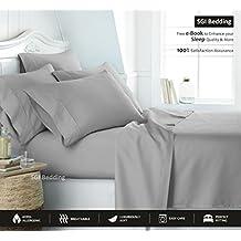 800 Thread Count GOTS Certified Organic Cotton Sheets Twin 4 Piece Sheet Set Light Grey Solid