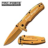 GIFTS INFINITY Free Engraving - Tac-Force Titanium Coated Stainless Steel Quality Pocket Knife (Gold)