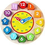 Wondertoys Wooden Shape Sorting Clock Educational Toy for Kids