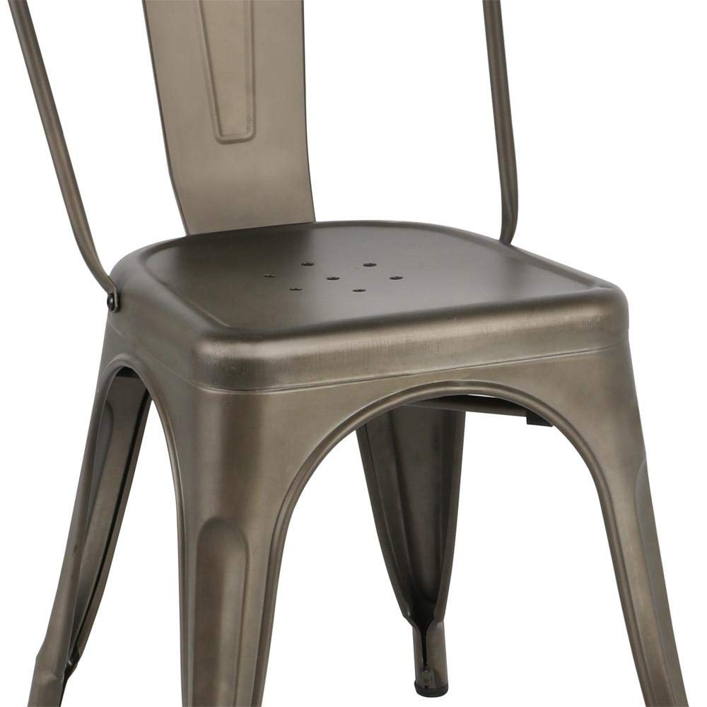 Yaheetech Iron Metal Dining Chairs Stackable Side Chairs with Back Indoor-Outdoor Classic/Chic/Industrial/Vintage Bistro Café Trattoria Kitchen Gun Metal,Set of 4 by Yaheetech (Image #5)