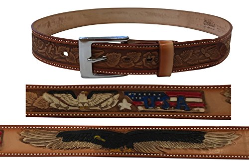 Cowhide Buckle (Cindilo Tan Brown Genuine Cowhide Leather Wide Belt Eagle USA Embossed w/ Buckle Change Snaps)