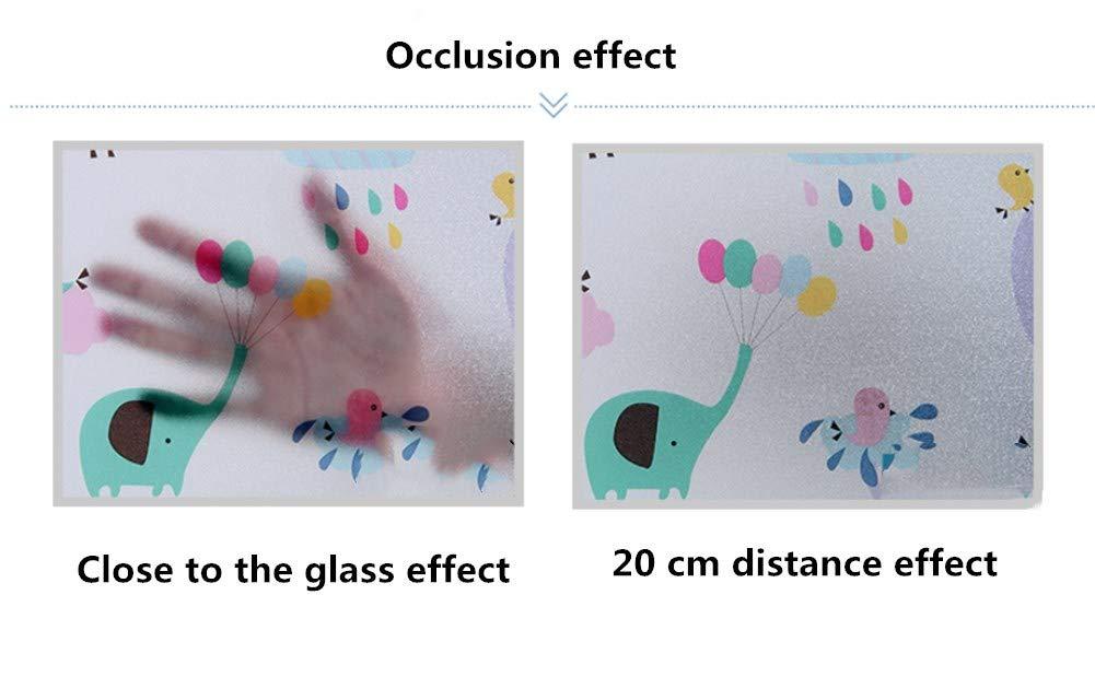 12x79inch YHviking Film de fen/être 3D Statique,Window Film,Fen/être Statique,Fenetre Film,Non-Colle Film vitrail vitrail,Fen/être d/écoratif-/Él/éphant 30x200cm