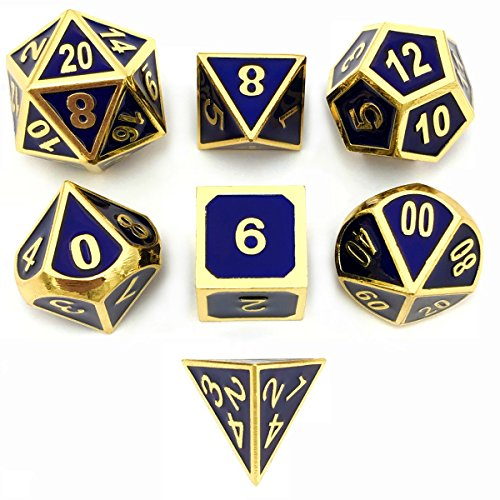 Set of 7 Metal Dice Shiny Gold Finish with Royal Blue Enamel Paint for RPG DND MTG Table Games by IvyFieldDice