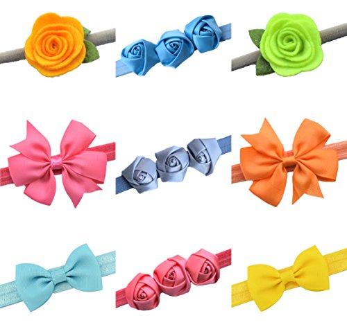 Baby Girls Headbands for Toddler, and Kids, 9pcs, Gift Bag, Baby Registry, Baby Shower Gift (Hello Sunshine)