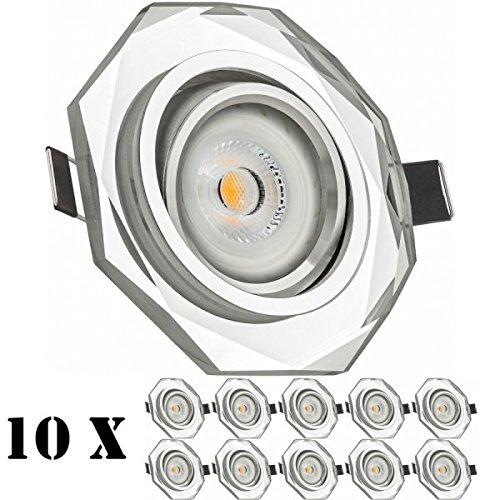 7W schwenkbar 30° Abstrahlwinkel LED Einbaustrahler Set Weiß Kristall//Glas mit LED GU10 Markenstrahler von LEDANDO A+ LED Spot 7 Watt warmweiss Einbauleuchte LED eckig 50W Ersatz