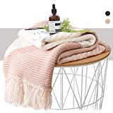 KAWAHOME Pink Knit Throw Blanket Office Handmade Tassel Elegant Decorative Spring Textured Throw 50 X 60 Inches for Couch Sofa
