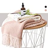 KAWAHOME Pink Knitted Throw Blanket Office Multi Color Handmade Tassel Elegant Decorative Textured Throw 50 X 60 Inches for Couch Sofa