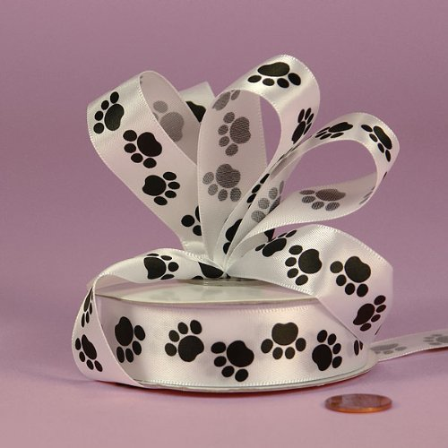 Black Paw Print Satin Ribbon, 5/8