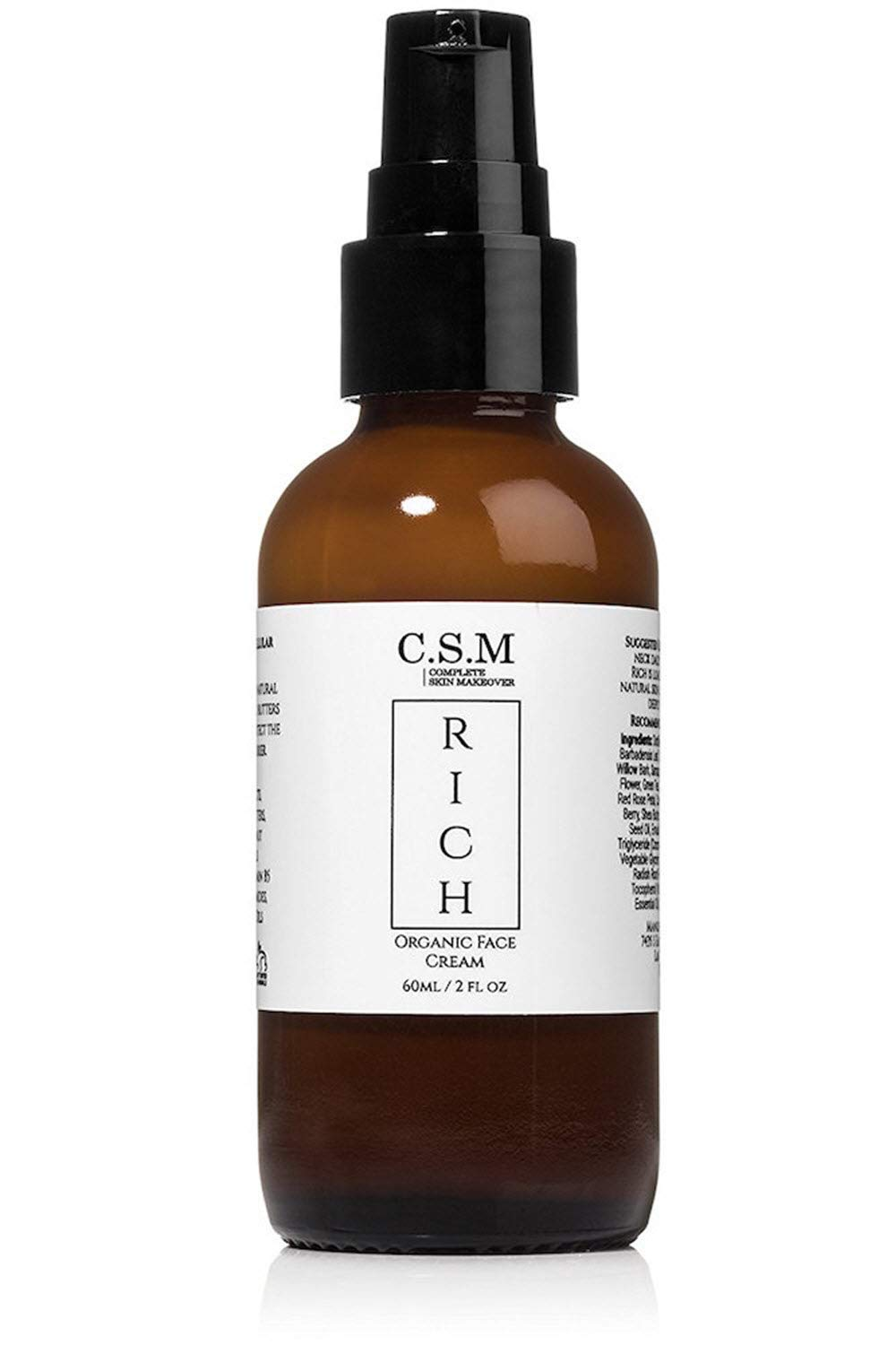 CSM RICH Organic Moisturizing Face and Eye Cream with Vitamin C, B5, Ceramides, Aloe, Chamomile, Comfrey, Lavender, Calendula, Anti-Aging Natural Skin Care Lotion, Under Makeup, Day and Night Cream