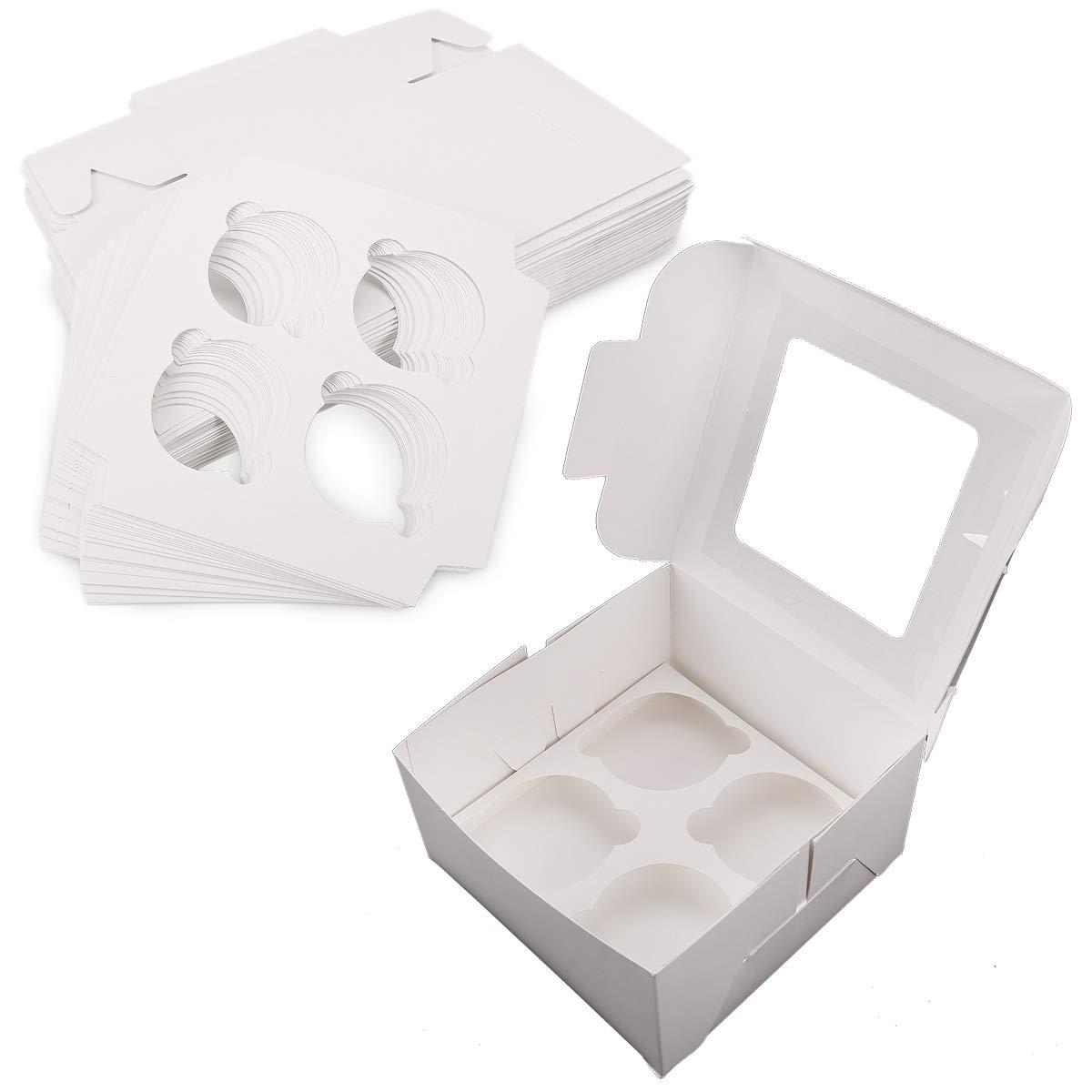 surepromise Lote DE 25 Cajas de Cartón para Repostería (Capacidad para 4 madalenas), Color Blanco: Amazon.es: Hogar