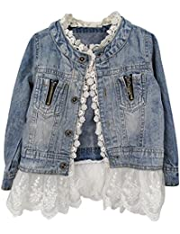 Kids/Girls Jean Jacket Toddler Spring Denim Jacket Lace Outwear Cowboy Overcoat