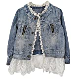 Artfasion Kids/Girls Jean Jacket Toddler Spring Denim Jacket Lace Outwear Cowboy Overcoat(5-6Y)