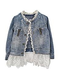 Artfasion Kids Jean Jacket Toddler Girls Spring Denim Jackets Lace Outwear Cowboy Overcoat