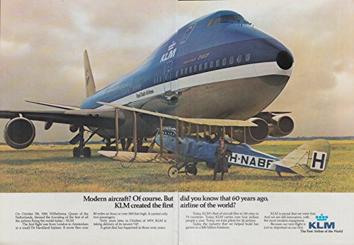 60 years ago KLM created 1st airline Boeing 747 & De Havilland biplane ad 1979