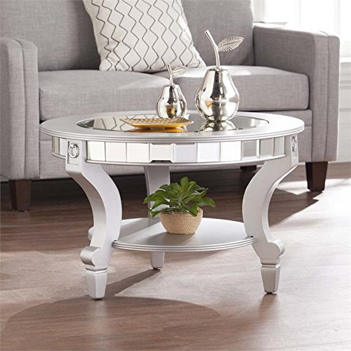 BOWERY HILL Glam Round Mirrored Coffee Table