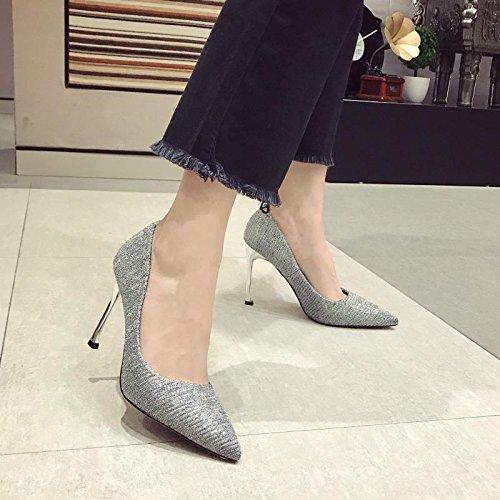 Ajunr Mujer de multa boda Sandalias de seguido de Ocasional tacón solo temperamento 36 zapatos plata zapatos puerto luz 9cm alto sexy elegante mujer La 38 de Transpirable los Punta zapatos zapatos COHqrCw