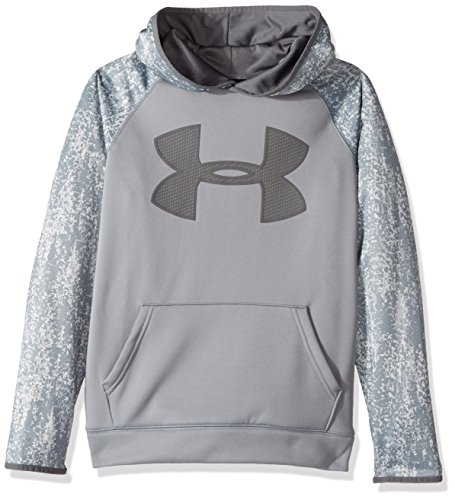 Under Armour Boys' Storm Armour Fleece Big Logo Printed Hoodie,Steel (035)/Graphite, Youth Small by Under Armour (Image #1)