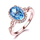 Blue Topaz Engagement Ring Rose Gold 6x8mm Oval cut CZ Cubic Zirconia Diamond Halo Art Deco Band Milgrain