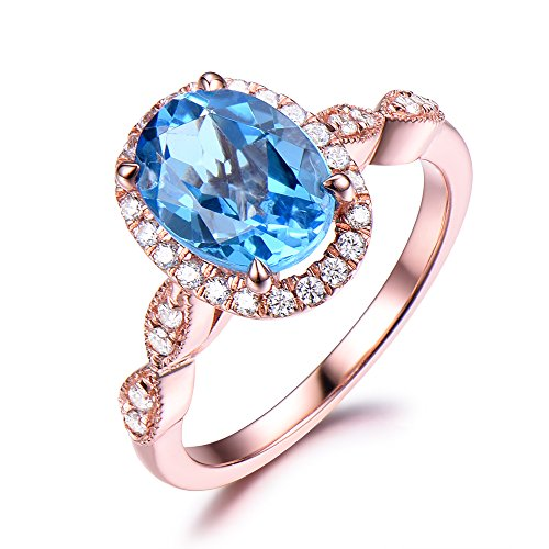 Blue Topaz Engagement Ring Rose Gold 6x8mm Oval cut CZ Cubic Zirconia Diamond Halo Art Deco Band Milgrain by Milejewel Topaz Engagement Ring