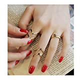 XILALU Women Geometry 3Pcs/Set Fashion Design Stack Above Knuckle Nail Ring (Gold)