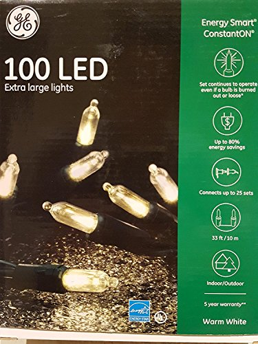 GE 100 LED Energy Smart String Lights - White- UL Listed (5) by GE