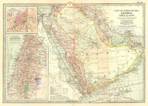 Arabia. Saudi ; Yemen, Oman, UAE; Jerusalem, Palestine - 1903 - Old map - Antique map - Vintage map - Printed maps of Saudi Arabia ()