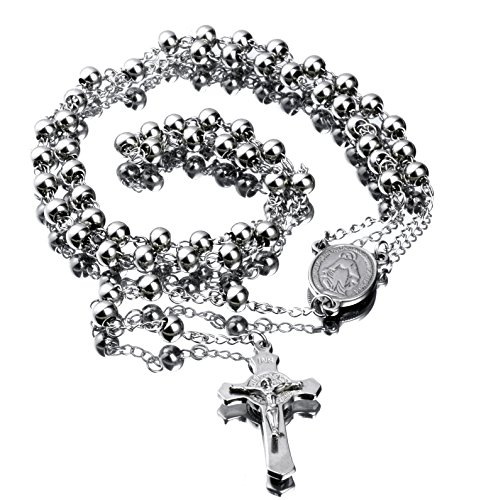 """30"""" Stainless Steel Rosary Beads Necklace 6mm Silver Color with Jesus Christ Crucifix Cross"""
