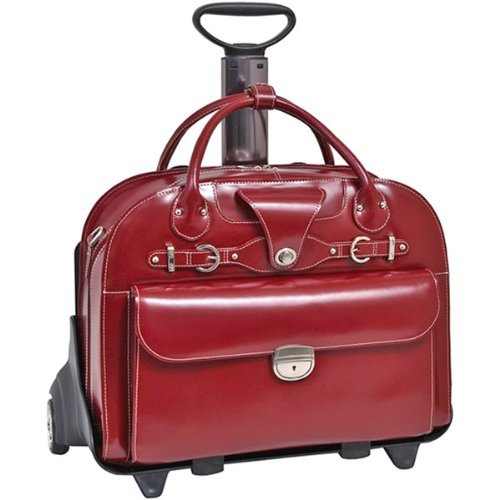 Red McKlein Roseville/15.6 Leather Fly-Through Detachable-Wheeled Ladies Briefcase 46 cm