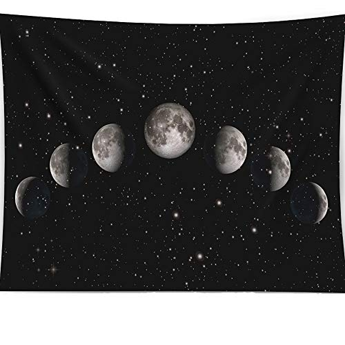 (HAOCOO Moon Eclipse Tapestry, 3D Space Painting Wall Art Stars Hippie Wall Hanging Tapestry Home Decor for Bedroom Living Room Dorm Apartment 60