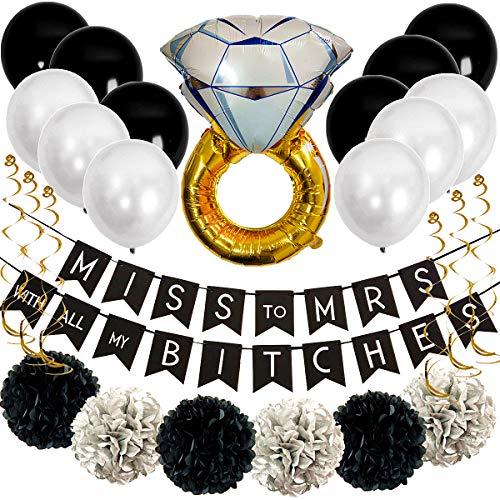 Black Bachelorette Party Decorations Kit Bachelorette Party Favors and Supplies Bridal Shower Party Favors Décor Tissue Paper Pom Poms Classy & Sassy Bachelorette Party Ideas