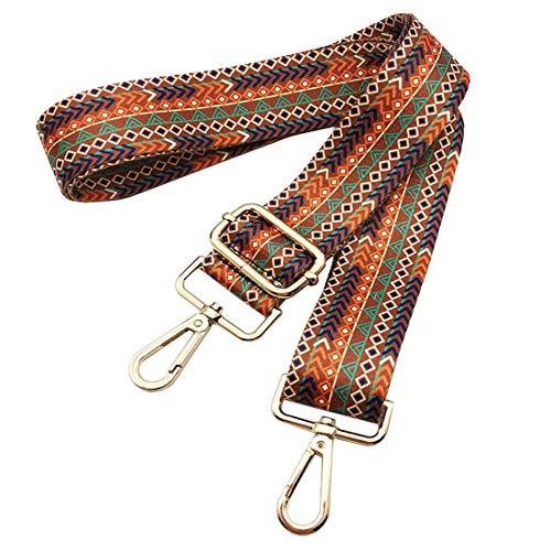 Bag Straps Replacement Guitar Strap Nylon Adjustable Wide Strap/Handle For Crossbody Shoulder Handbag Tote Bag Toiltry Duffel Bag Geometric Brown