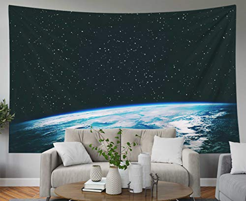 Musesh Hanging Wall Tapestry, Landscape Tapestry Wall Hanging for Bedroom Living Room Decor Inhouse of The Planet Earth from Space Gas Nebula Stars The Elements This Image furnished 60x50 Inches Size
