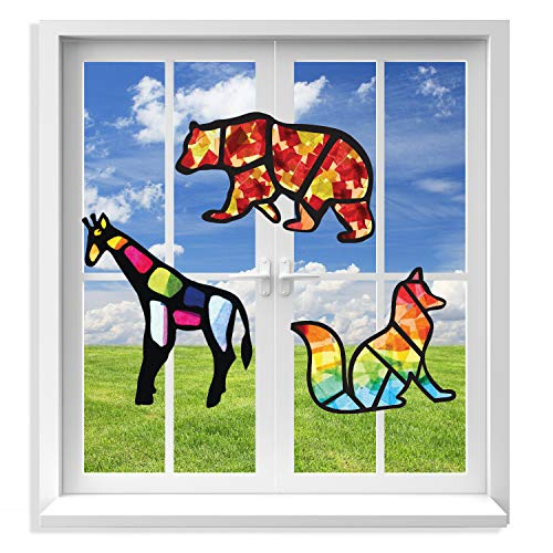 VHALE 3 Sets of Stained Glass Effect Paper Suncatcher Kits, Creative Arts and Crafts, Great Travel Toys and Party Favors for Kids (Animal) ()