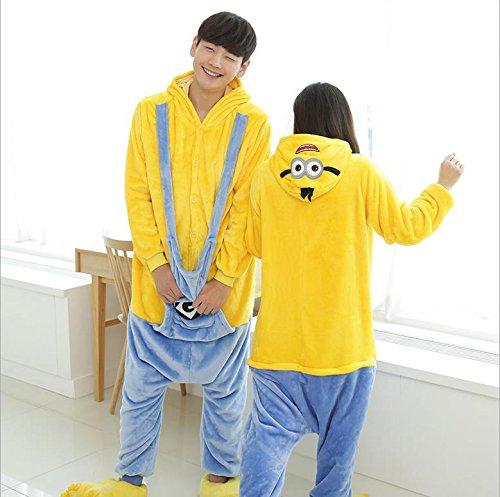 MH-RITA 2017 Unicorn Pajamas Adult Kids Warm Flannel Siamese Cartoon Autumn Winter Pajamas Family Fitted Animal Pajamas For Women Men,Yellow,M