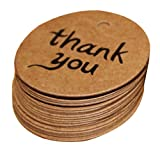 Thank You Tags - Rucan 100PCS Gift Tags Brown Kraft Paper Tag Card for Wedding, Birthday, Graduation, Party Decoration