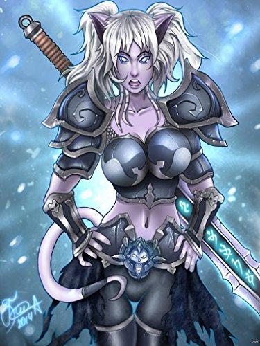 (World of Warcraft Death Knight Sexy Draenei Female Game Fan Art 24x18 Poster Print)