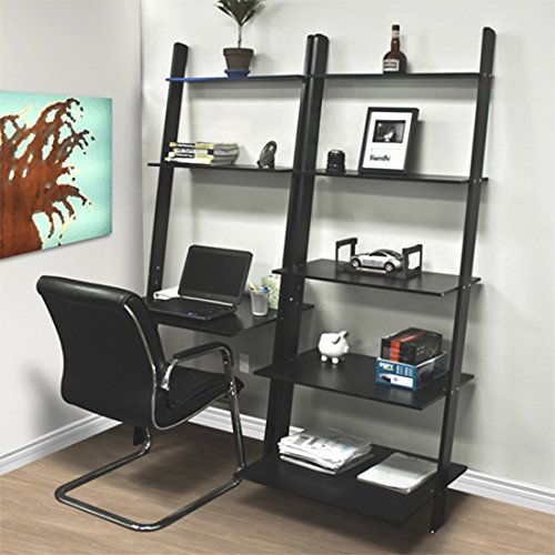 Leaning Shelf Bookcase With Computer Desk Office Furniture Home Desk Wood Premium Quality!! Brand - Shopping Spokane