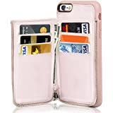 """iPhone 6S Plus Wallet Case, iPhone 6 Plus Card Holder Case, LAMEEKU Leather Cases with Protective Credit Card Slot & Zipper Pocket Wallet for Apple iPhone 6S Plus/6 Plus 5.5"""" - Rose Gold"""
