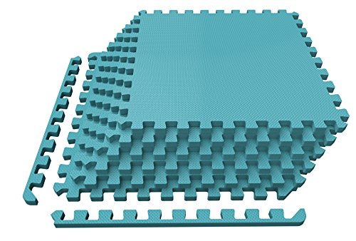 Levoit Puzzle Exercise Mat, Premium EVA Foam Interlocking Tiles, Protective Flooring for Gym Equipment and Cushions for Workouts, 24 SQ FT (6 tiles, 12 borders) (Cyan-blue) - Interlocking Foam Puzzle Mats
