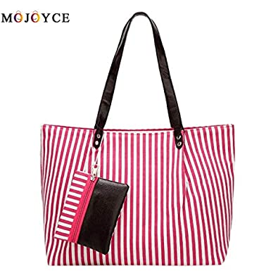 729cb84539 Amazon.com  Casual Stripes Oxford Women Shoulder Bag Zipper Big Capacity  Travel Shopping Tote Lady Handbag Bolsa Feminina Color Pink  Shoes