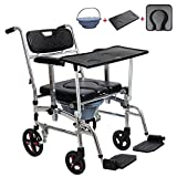 DR.MJ Toilet Chair Wheelchair Commode Seat with Padded Cushion Widen Adjustable Height Portable Bedside Commodes 4 in 1 Foldable Shower Bath Chair with Wheel for Elder Disabled Pregnant Women