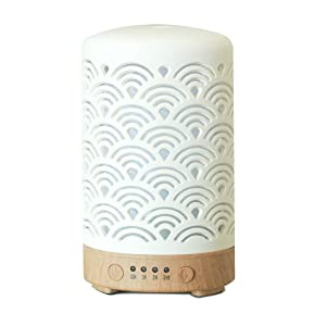 HOMNAS Essential Oil Diffuser, 100ML Upgraded Ceramic Diffusers for Essential Oils, Aromatherapy Diffuser Cool Mist Humidifier with Waterless Auto Shut-Off for Home Office Baby