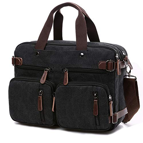 Convertible Laptop Backpack Messenger Bag for Men/Women,17.3 Inch Laptop Shoulder Bag Multicompartment Canvas Business Briefcase (Black)